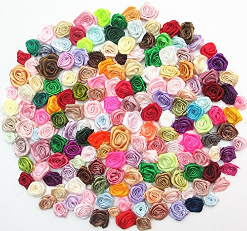 Dandan DIY 200pcs Mix Lots Satin Ribbon Rose Flowers Sewing Craft Ribbon Bows Wedding Decoration