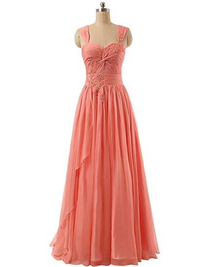 Clearbridal Womens Chiffon A-Line Prom Dress Detachable Sleeve Formal Long Beidesmaid Gown with Beaded TZ004: Amazon.co.uk: Clothing