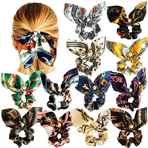 (WillingTee 12 Pack Big Bow Hair Scrunchies Chiffon Elastic Hair Bands Bowknot Pearls Hair Ties Ponytail Holder Silk Scrunchies Hair Accessories for Women Girls)