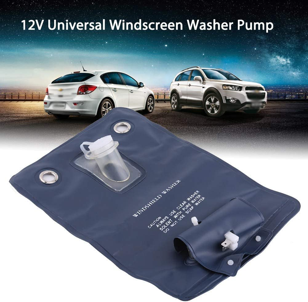Dibiao Washer Pump Bag,12V Universal Windshield Washer Pump Bag Kit with Jet Button Switch