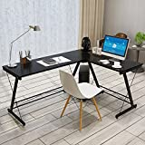 Soges L-Shaped Desk Computer Desk Multifunctional Computer Table Workstation, Black SC1-BCA-N