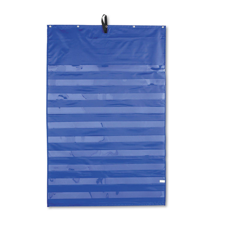Carson-Dellosa 158158 Essential Pocket Chart, 10 Clear & 1 Storage Pocket, Grommets, Blue, 31 x 42
