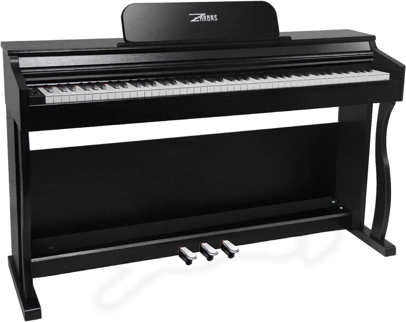 ZHRUNS Digital Piano,88 Heavy Hammer Piano Keys with Touch Response Electric Keyboard Piano/Music Stand+Power Adapter+3 Metal Pedals+Instruction Book,Headphone Jack/MIDI Input/Outputp (Black)