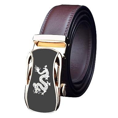 Cinturones Hombre Cuero Real/trinquete Automático Dorado Dragón ...