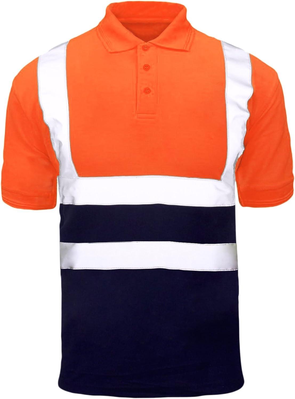 MyShoeStore Haute Visibilit/é Polo /À Manches Courtes Ruban R/éfl/échissant s/ûret/é s/écurit/é Travail Bouton T-Shirt Respirant Couvercle L/ég/ères Double Bande V/êtements de Plus Gros King S