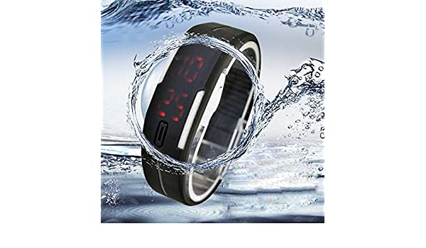 Amazon.com: Quaanti Digital Watch Ultra Thin Men Girl Sports Silicone Digital LED Wristwatch Bangle Bracelet Dress reloj Hombre relogio Masculino (Black): ...