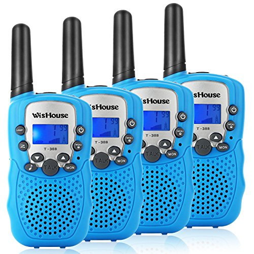 WisHouse Walkie Talkies for Kids,Fashion Toys for Boys and Girls Best Handheld Two Way Radio with Flashlight for 4 Year Old and up to Camping Hiking Riding and Cruise Ship(T388 Blue 4 Pack) by Wishouse (Image #8)