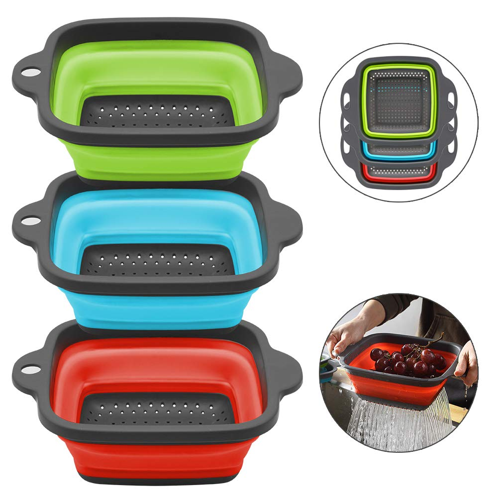 Qimh Collapsible Colander Set of 3 Square Silicone BPA Free Kitchen Food Strainer Set - 3 pcs 4 Quart - Dishwasher Safe - Perfect for Draining Pasta, Vegetable and Fruit (Green,Blue,red)