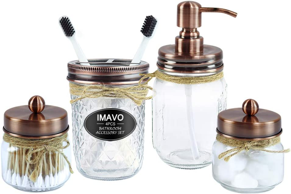IMAVO Mason Jar Bathroom Accessories Set,4 Pcs Gift Set - Liquid Hand Soap Dispenser, Toothbrush Holder, 2 Qtip Holder (Apothecary Jars), Farmhouse Decor Bathroom Set (Bronze)