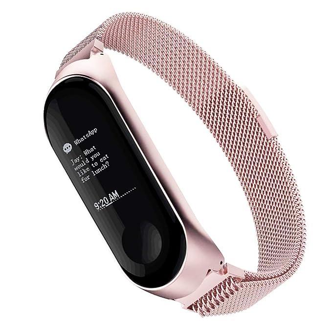 Simpeak Compatible Xiaomi Mi Band 3 Correa (6.7-8.1 Pulgadas), Pulseras de Acero Inoxidable Wristband Repuesto Bandas Xiaomi Mi Band 3 Fitness con ...