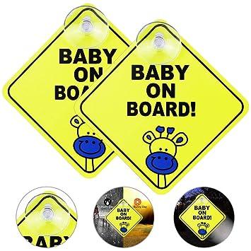 Emageren 2 Stücke Baby An Board Aufkleber Auto Aufkleber Reflektierende Magnetische Auto Aufkleber Sicherheit Vorsicht Zeichen Kindersicherheit Autoschild Mit Saugnapf Für Neue Eltern Und Baby Baby