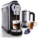 NutriChef Nespresso Machine Coffee & Cappuccino Maker with Milk Frother - Compatible with Nespresso Coffee Capsule Pods…