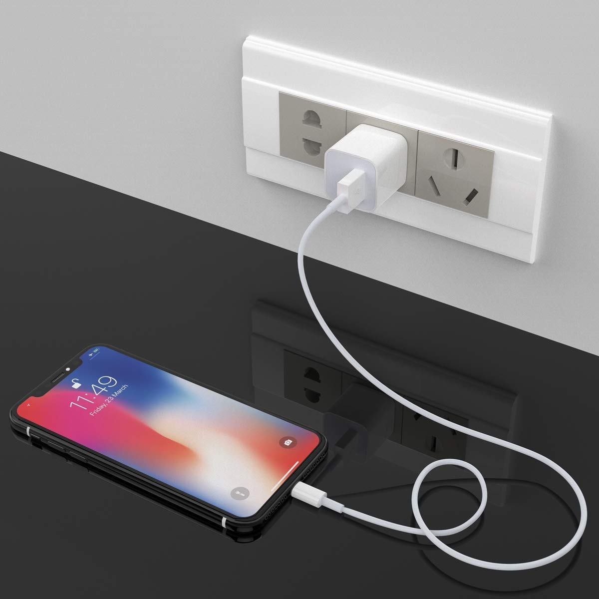 i Pad Air Mini Pro Phone Charger Pack of 5 Gczaec 3ft+6ft+10ft Long Charging Cable and Dual USB Wall Plug Charger Block Cube Compatible with i Phone Xs//XR//X 8//7//6//Plus SE//5S//5C White10