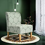 Green and White Fabric Accent Chair with Wooden Legs