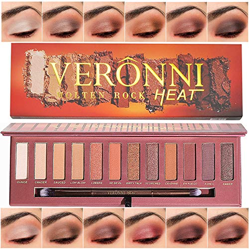 VERONNI 12 Colors Highly Pigmented Pro Matte Pressed Colorful Eyeshadow Palette - Natural Professional Vegan Nudes Warm Natural Bronze Neutral Smokey Cosmetics Eye Shadows Makeup With Mirror & -