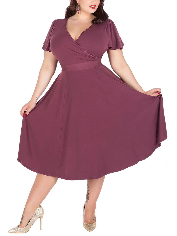 Nemidor Women\'s V-Neckline Stretchy Casual Midi Plus Size Bridesmaid ...