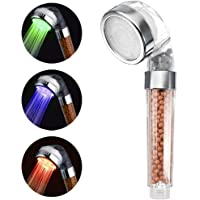 VEHHE LED Light Shower Spray Head With Temperature Sensor 3 Colors Change Double Filtration Massage Spa Showerhead Handheld Bathroom Accessory