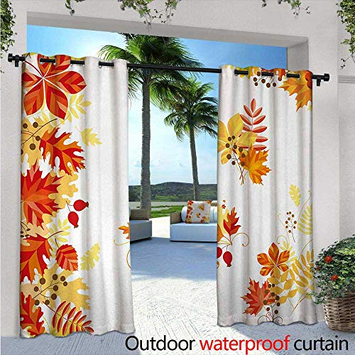 Fall Exterior/Outside Curtains W84 x L84 Autumn Themed Pattern Chestnut Oak Maple Leaves and Berries Corner Design Elements for Patio Light Block Heat Out Water Proof Drape Multicolor