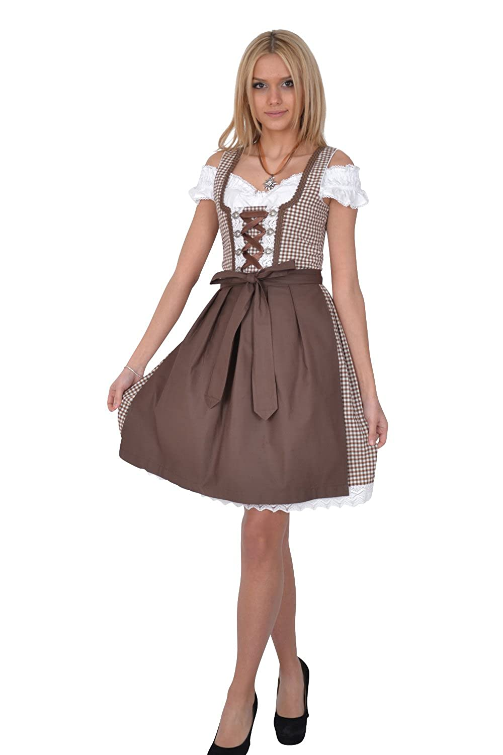 dirndl set trachtenkleid 283gt braun kariert g nstig kaufen. Black Bedroom Furniture Sets. Home Design Ideas