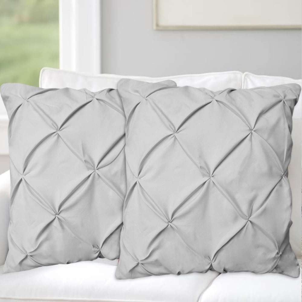 2 Piece Grey Luxury Pinch Pleated Pattern Decorative Square Throw Pillow Set 18-Inch, Elegant Pintuck Diamond Textured Design Sofa Cushion, Hypoallergenic, Solid Bold Color, Soft & Durable Microfiber