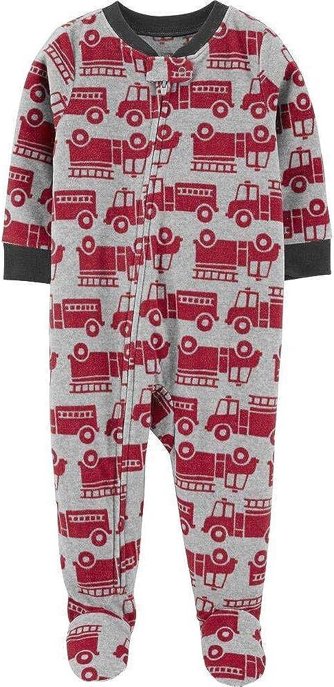 Carters Boy 1-Piece Firetruck Fleece Footie PJs,4 Grey,red