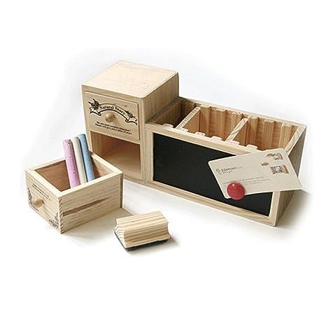 Retro - Estuche de madera hueca para bolígrafos, multifuncional ...