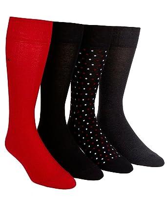 Calvin Klein Men's Dress Crew Socks 4-Pack, One Size, Black/Red