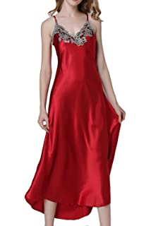 d810440869 ASHER FASHION Women s Nightdress Lace Satin Nightgowns Long Chemise  Sleepwear