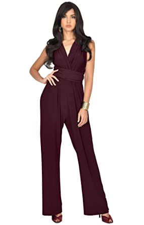 1e17ad4f1e3 Amazon.com  KOH KOH Womens Infinity Convertible Wrap Party Cocktail Jumpsuit  Romper Pants  Clothing