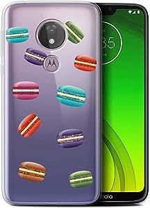 Phone Case for Motorola Moto G7 Power Pieces of Food Macaron Design Transparent Clear Ultra Soft Flexi Silicone Gel/TPU Bumper Cover