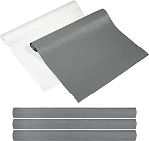 "Yachee 3 Rolls EVA Shelf Liners, Non-Slip Non-Adhesive Shelf Liners for Kitchen Cabinets Cupboard Drawer Cushion Shelves, 2019 DIY Multipurpose Refrigerator Liners, 18"" x 60""- Light Grey"