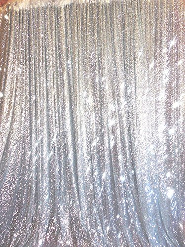 TRLYC 20Ft W by 10FT H Sparkly Silver Sequin Backdrop Curtain for Wedding Halloween Thanksgiving Day (Silver Sequin Fabric)