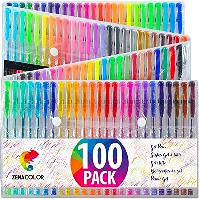 100 Bolígrafos de Gel Zenacolor con Estuche - Set Extragrande - 100 Colores Unicos - Con Tinta de Flujo Continuo de Calidad Superior - Libros de ...