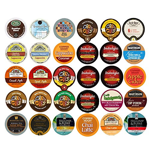 Coffee, Tea, and Hot Chocolate Recyclable Single Serve Cups For Keurig K Cup Pod Brewers Variety Pack Sampler, 30 Count