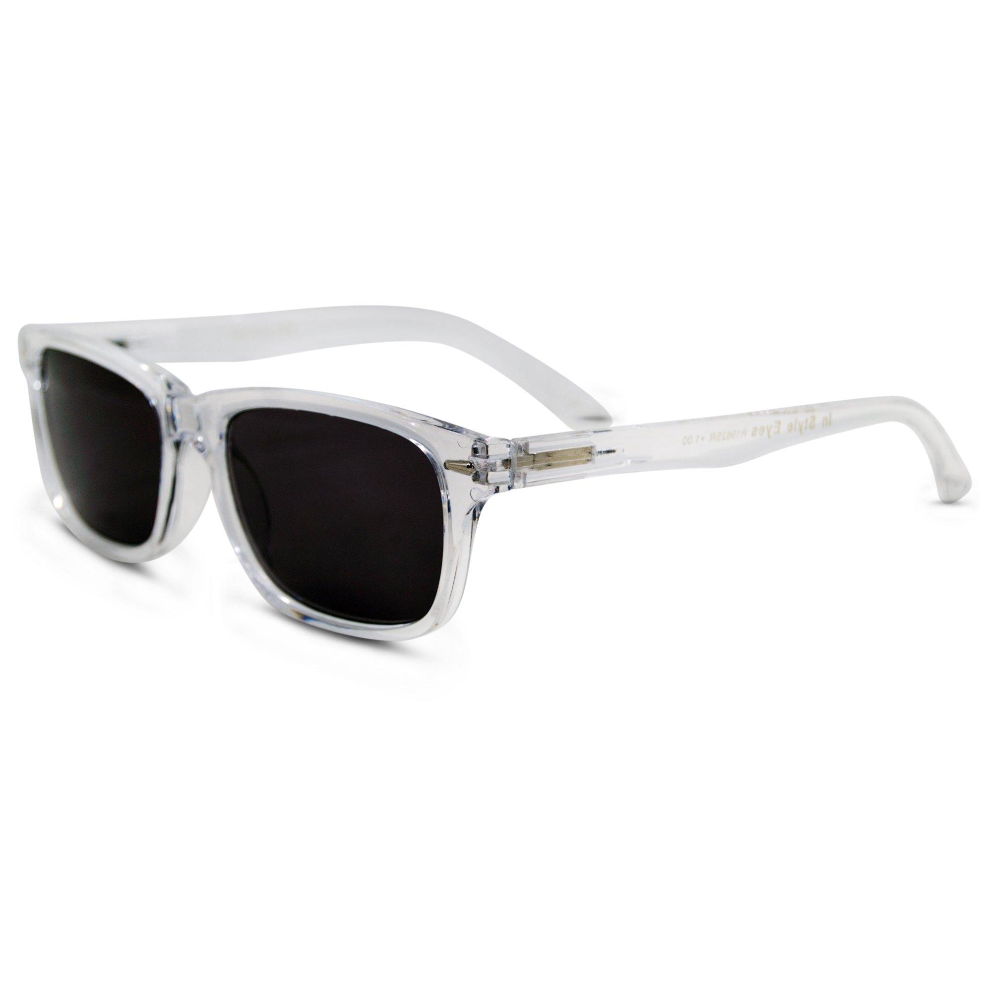 In Style Eyes Seymore Wayfarer Reading Sunglasses, NOT Bifocals Clear 3.50