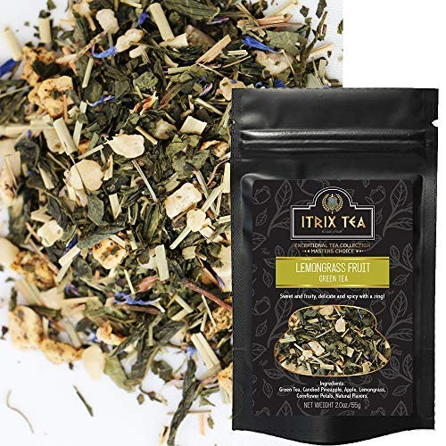 Itrix Lemongrass Fruit Loose Leaves Tea - Infused with 100% Natural & Vegan Flavors like Candied Apple, Cornflower Petals - Organic Green Tea for Healthy Diet - 2 oz