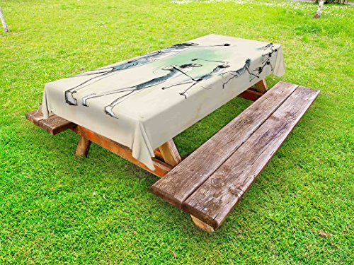 (Lunarable Sports Outdoor Tablecloth, Golf Player in Motion Club Game Sketch Style Illustration, Decorative Washable Picnic Table Cloth, 58