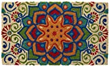 HF by LT Boho Market Printed and Flocked 100% Coir Doormat, 18'' x 30'', Slip-Resistant PVC Backing, Durable, Sustainable, Multi-Colored, Star of India Design, 5 Styles Available