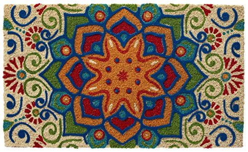 HF by LT Boho Market Printed and Flocked 100% Coir Doormat, 18