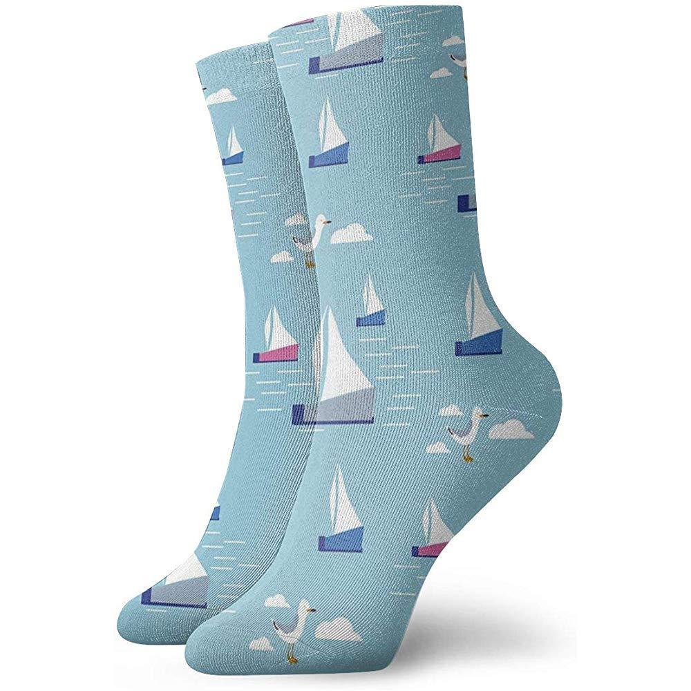 Adamitt Neuheit lustige verr/ückte Crew Socke nautische handgezeichnete Segeln gedruckt Sport athletische Socken 30 cm lange personalisierte Geschenk Socken