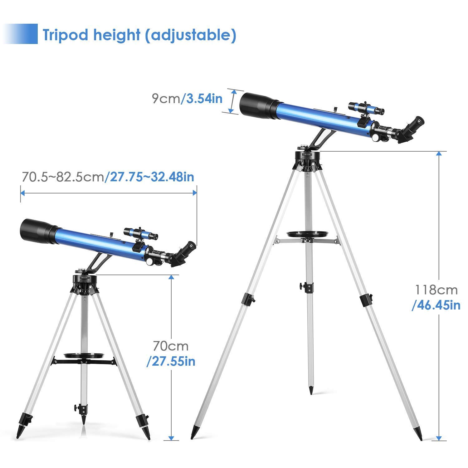 27.5In-46.5In Portable Travel Telescopes for Kids and Adults with Phone Adapter TELMU Astronomical Refractor Telescope 60mm Aperture /& 700mm Focal Length Adjustable