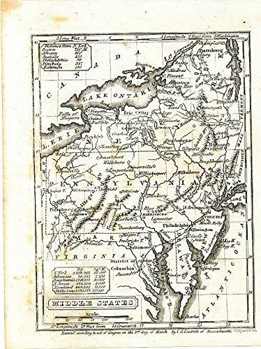 Pennsylvania Antique Map (New York Pennsylvania Virginia 1844 original antique engraved Boynton U.S. map)