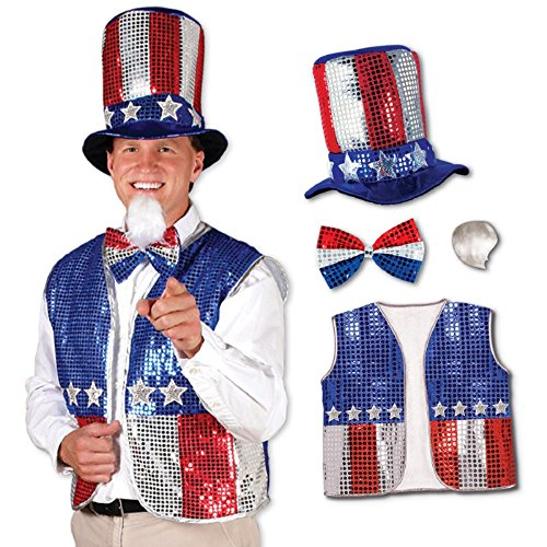 Party Central Patriotic Red, Silver and Blue Sequined