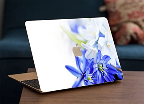 GADGETS WRAP Apple MacBook Air 13 inch Printed Blue Flowers Skin for Top Only Laptop Accessories
