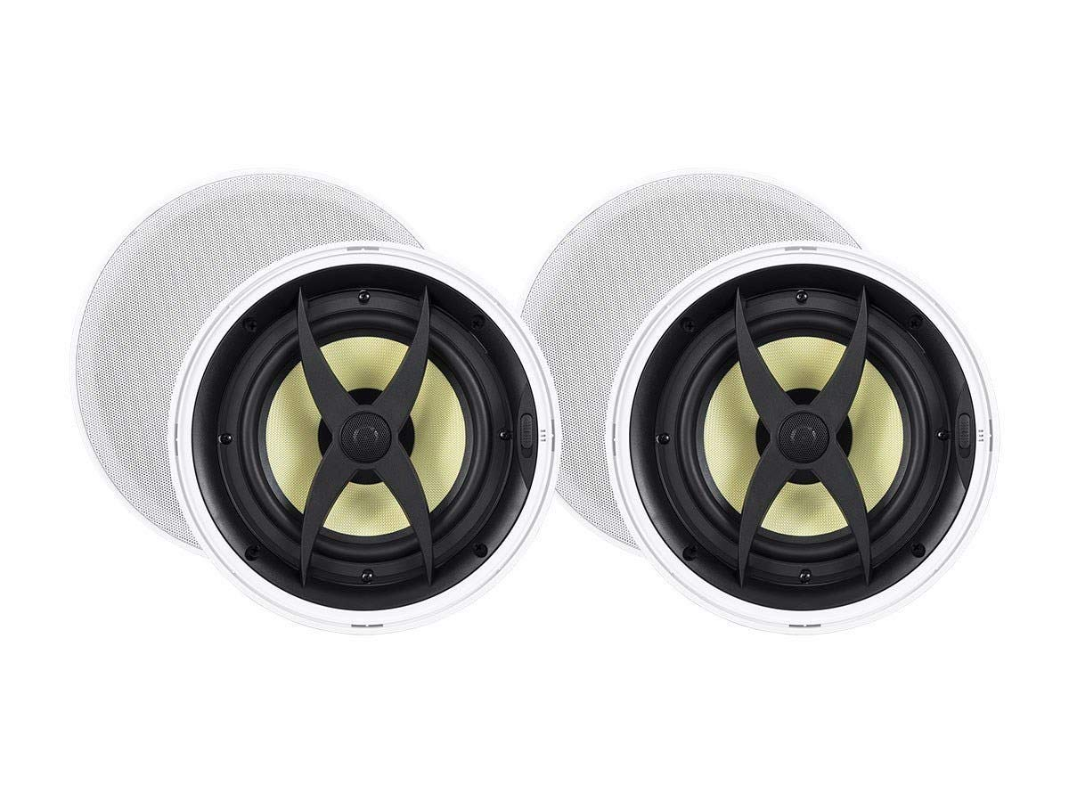 Monoprice 2 Way in-Ceiling Speakers - 8 Inch (Pair) with Aramid Fiber and Titanium Silk Drivers - Caliber Slim Series