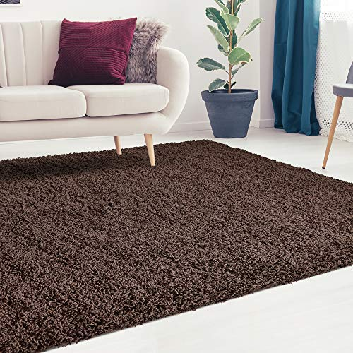 (iCustomRug Cozy and Soft Solid Shag rug 5X7 Dark Brown Ideal to Enhance Your Living Room and Bedroom Decor)