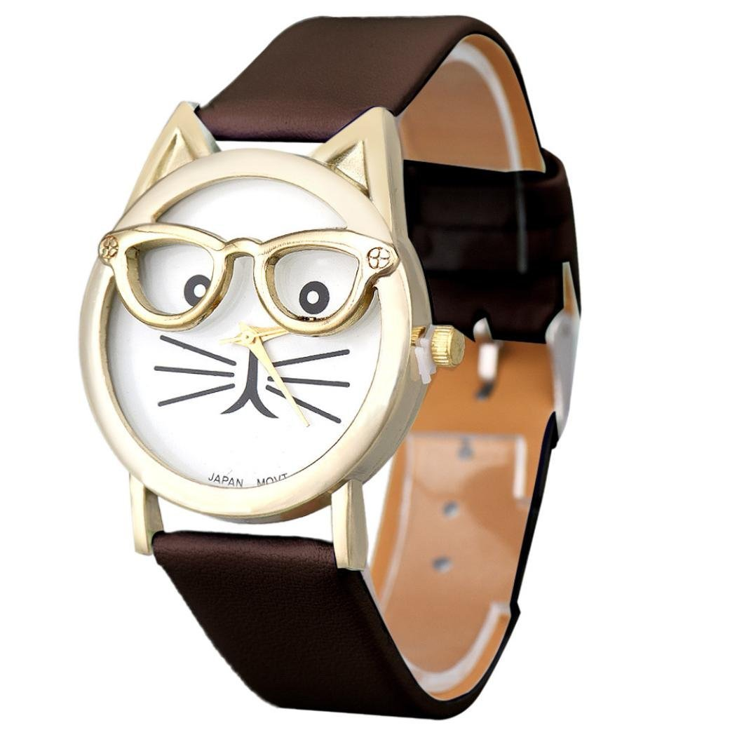 Start Women Cute Glasses Cat Crystal Gold Case Leather Quartz Watch-Brown