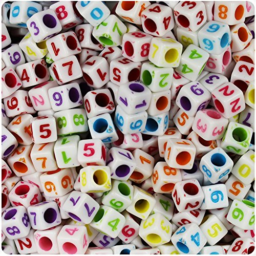 BEADTIN White Opaque 6mm Cube Multi Colored Number Pony Beads - (100pc)