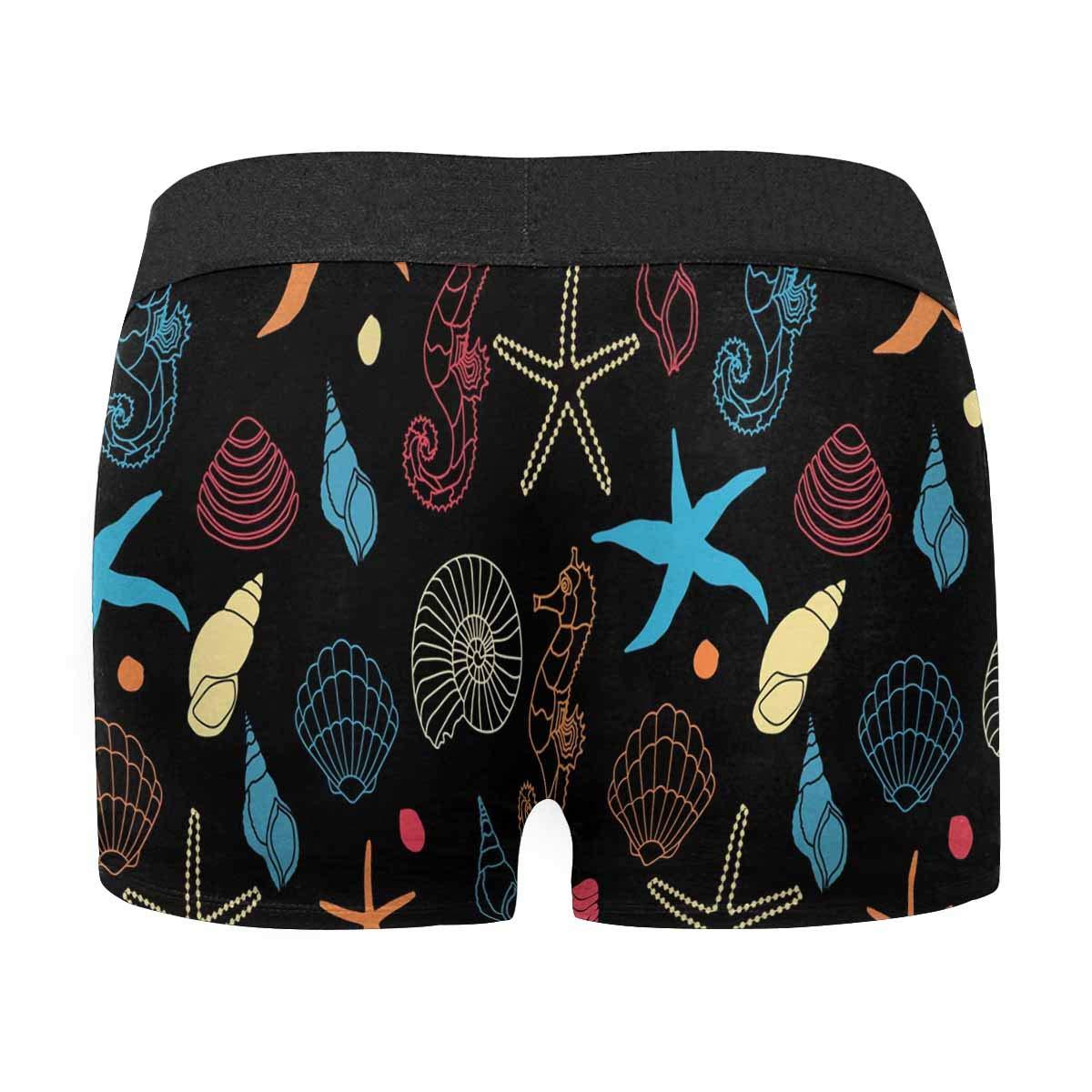 INTERESTPRINT Boxer Briefs Mens Underwear Cute Starfish and Hippocampus M