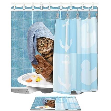 Decoración animal Toalla de desgaste lindo del gato en el baño Cortina de ducha náutica contra